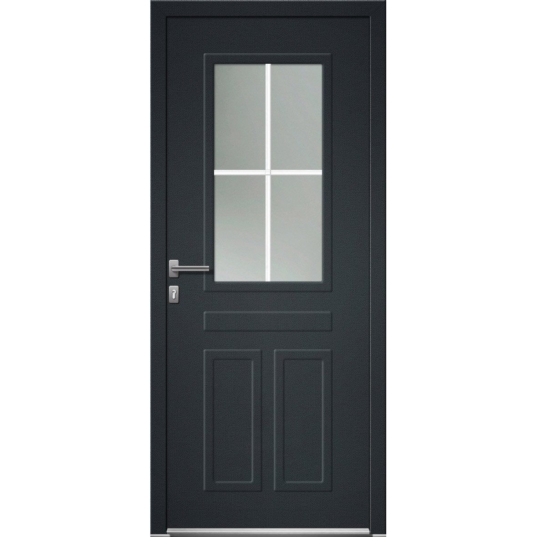 Porte D Entree Pvc Arcadia Premium H 215 X L 90 Cm 1 2 Vitree Gris Anthra Pd