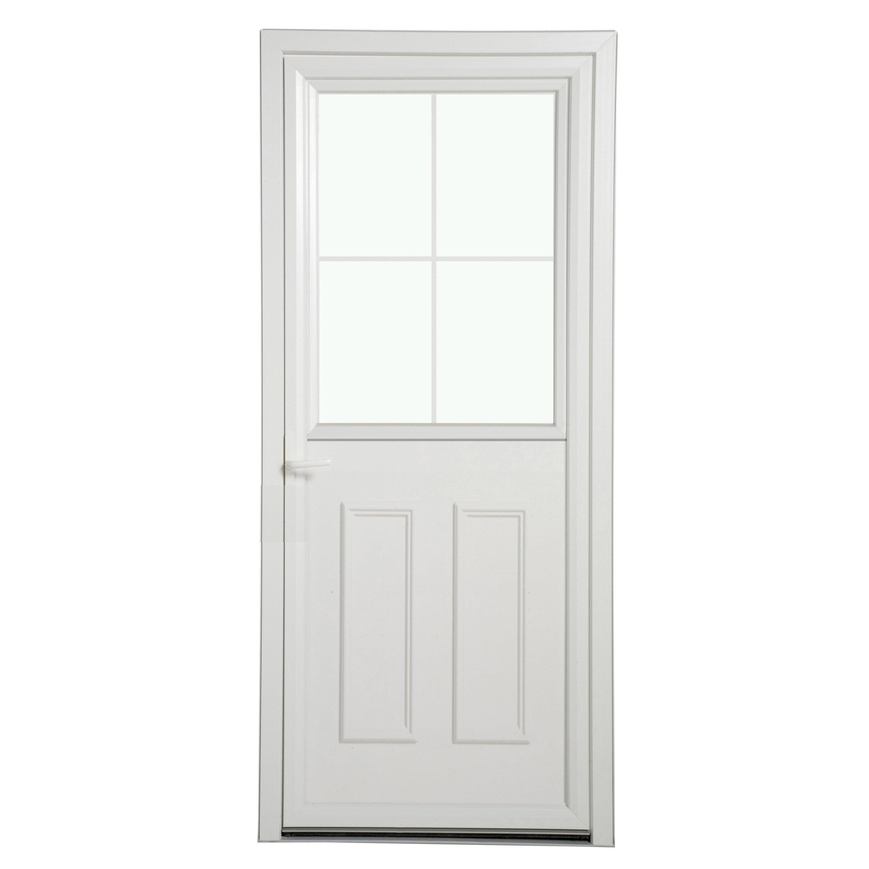 Porte D Entrée Pvc Fermiere Essentiel H 215 X L 90 Cm Vitrée Blanc Pd