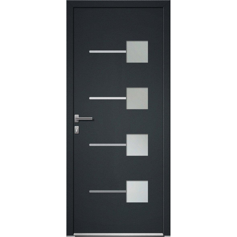 Comment Peindre Une Porte En Pvc porte d'entrée pvc soria 2 premium h.215 x l.90 cm gris anthr., p. droit