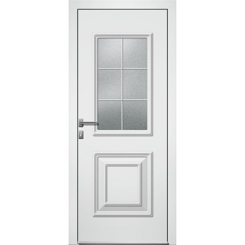 Porte Dentrée Alu Utah 2 Essentiel H215 X L90 Cm Vitrée Blanc Poussant Droit