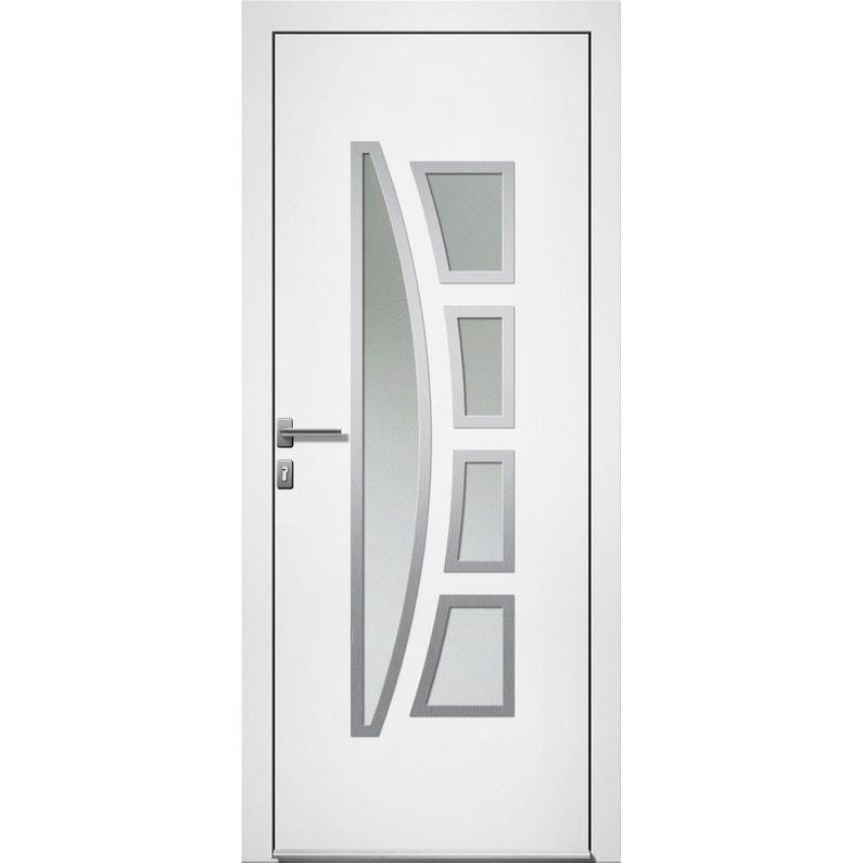 Porte D Entrée Alu Riwa Premium H 215 X L 90 Cm Vitrée Blanc Pg