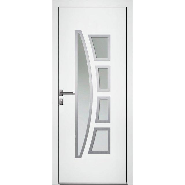 Porte Dentrée Alu Riwa Premium H215 X L90 Cm Vitrée Blanc Poussant Gauche