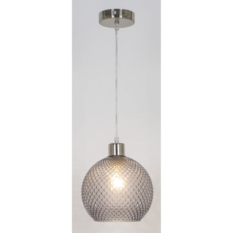 Suspension, classique verre gris fumé SAMPA HELIOS Klarc 1 lumière(s) D.20 cm