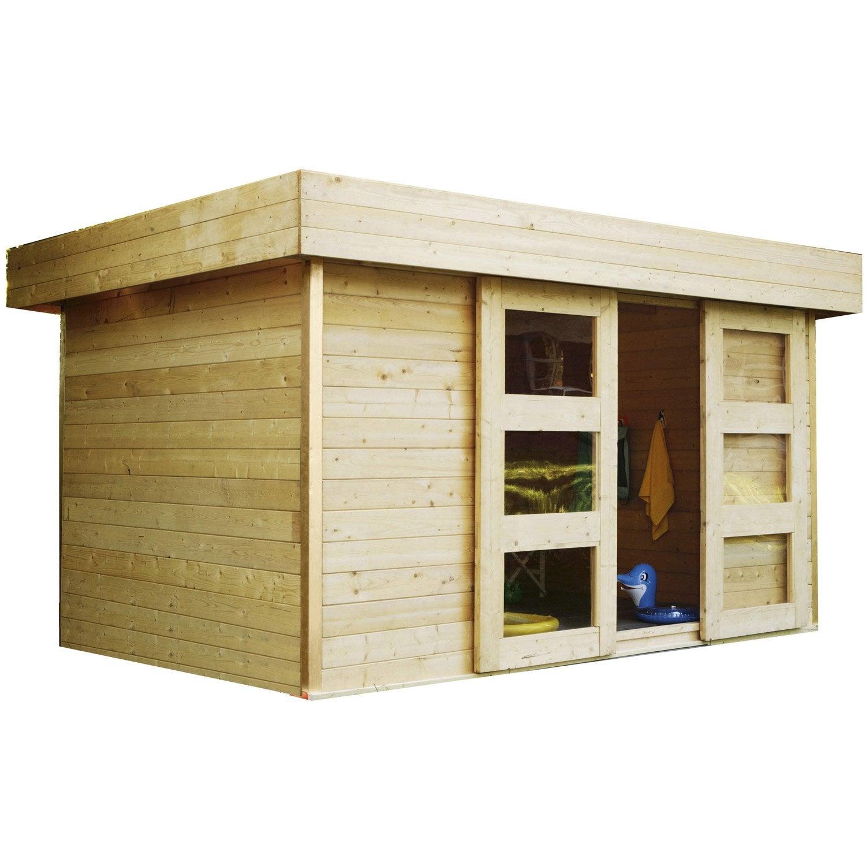 Abri de jardin bois Stockholm, 8.38 m² Ep.28 mm | Leroy Merlin
