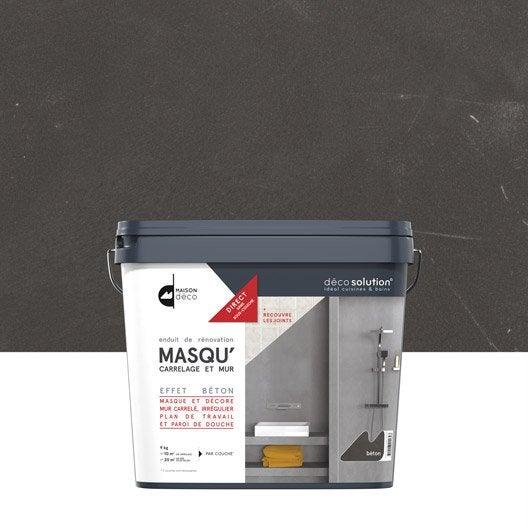 enduit masqu'carrelage et mur maison deco, gris béton, 9 kg ... - Beton Cire Sur Carrelage Mural Cuisine