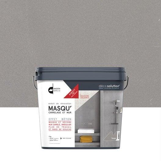 Enduit masqu 39 carrelage et mur maison deco taupe 9 kg leroy merlin - Enduit decoratif cuisine ...