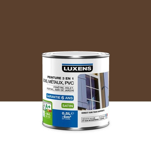 Peinture multimat riau ext rieur 3 en 1 luxens brun chocolat n 3 0 5 l leroy merlin for Peinture couleur chocolat