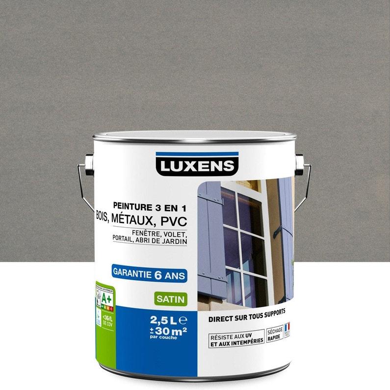 Peinture multimatériau extérieur 3 en 1 LUXENS, gris zingué n°3, 2.5 l