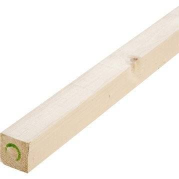 Tasseau sapin petits noeuds raboté, 56 x 56 mm, L.2.4 m