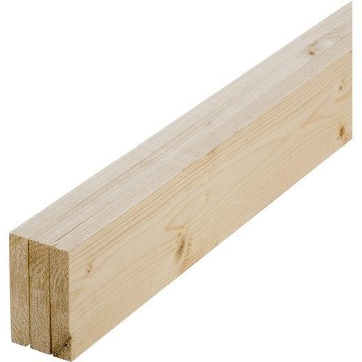Lot de 3 planches sapin petits noeuds raboté, 21 x 93 mm, L.1.8 m