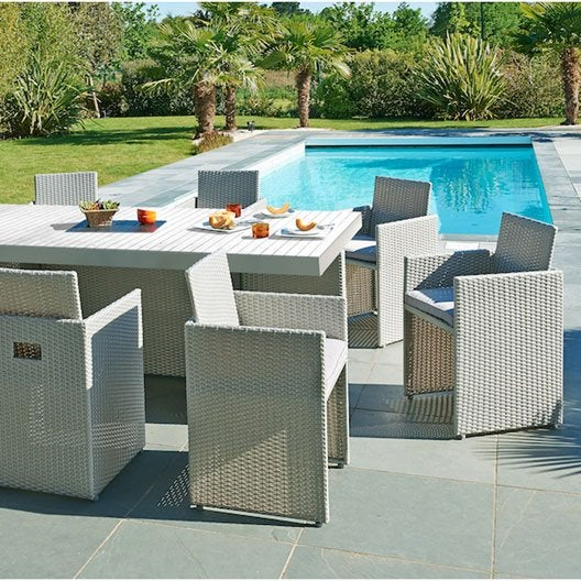 Salon De Jardin Mediterran E R Sine Tress E Gris 1 Table 8 Fauteuils Leroy Merlin