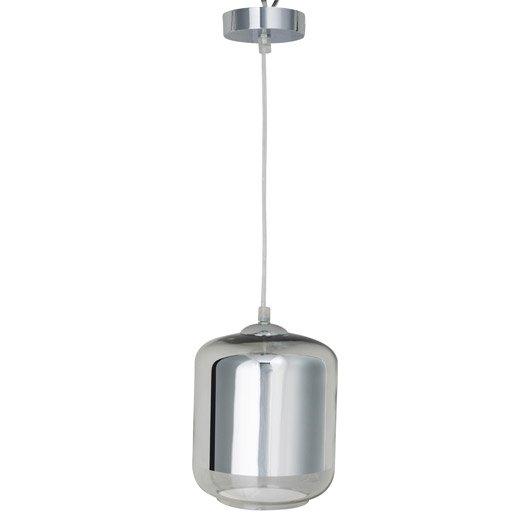 suspension e27 design myrta verre chrome 1 x 60 w inspire leroy merlin. Black Bedroom Furniture Sets. Home Design Ideas