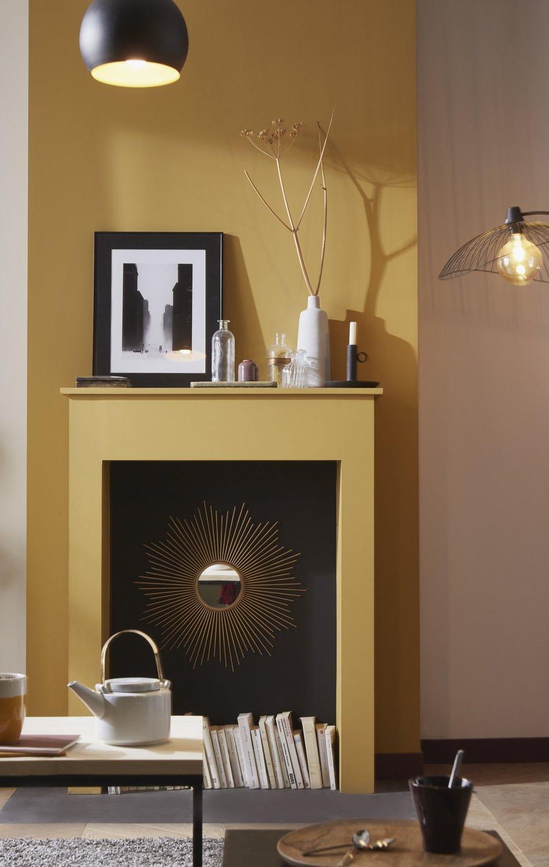 ocre dor pour la chemin e leroy merlin. Black Bedroom Furniture Sets. Home Design Ideas
