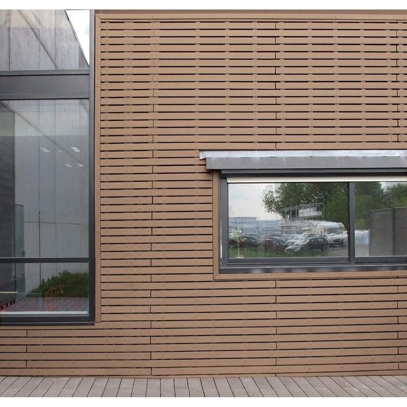 clin pour bardage bois composite marron teck xyltech 2 7 m. Black Bedroom Furniture Sets. Home Design Ideas
