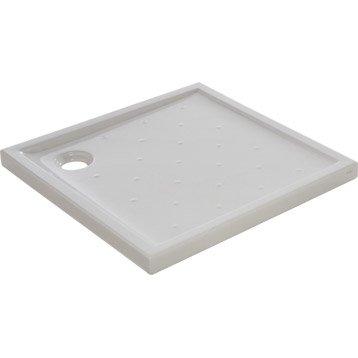 Receveur de douche carré l.90 x l.90 cm, grès blanc Asca2