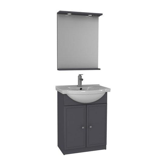 Meuble sous vasque x x cm gris galice for Meuble sous vasque bois 60 cm