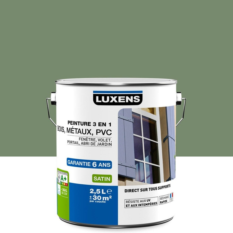 Peinture multimatériau extérieur 3 en 1 LUXENS, vert olivier, 2.5 l ...
