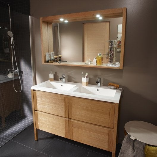 Pose d 39 un meuble de salle de bains double vasque jusqu 39 - Meuble bois salle de bain pas cher ...