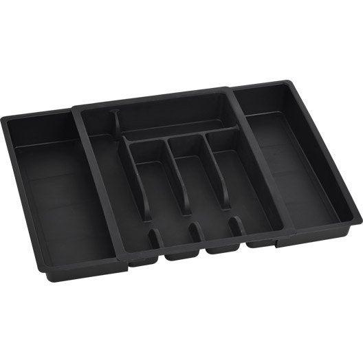 range-couverts extensible noir-noir n°0 l.29 x p.38 cm   leroy merlin