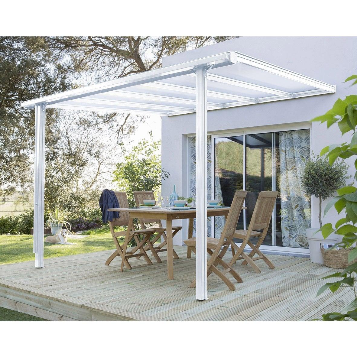 Couverture de terrasse adossée Tradition, aluminium blanche, 7.77 m² ...