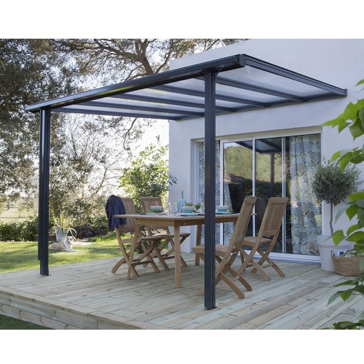 Couverture de terrasse adossée Tradition, aluminium gris, 9.33 m² ...