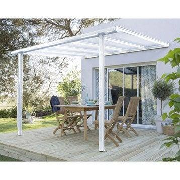Couverture de terrasse adossée Tradition, aluminium blanche, 9.33 m²