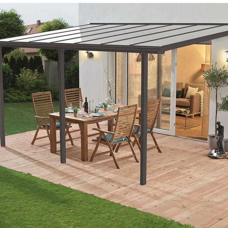 Couverture de terrasse adossée Tradition, aluminium gris, 10.85 m² ...