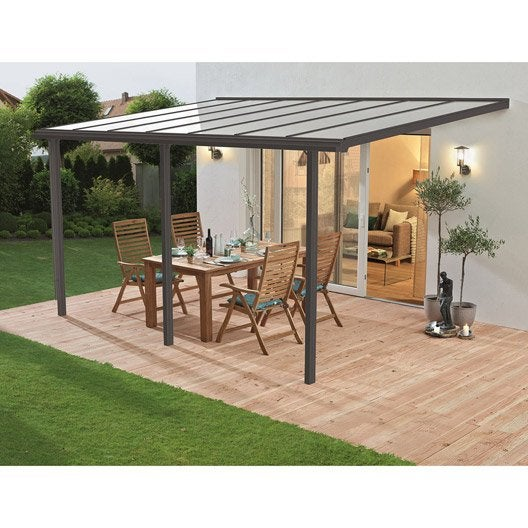 couverture de terrasse murale aluminium gris 13 m leroy. Black Bedroom Furniture Sets. Home Design Ideas