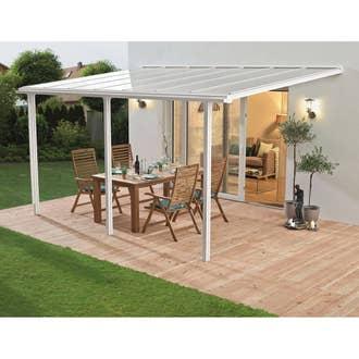 Couverture de terrasse adossée Tradition, aluminium blanche, 10.85 ...
