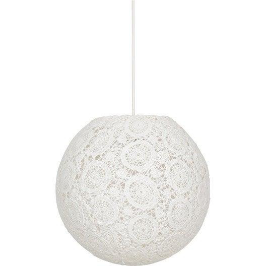 suspension charme dentelle tissus cr me 1 x 60 w corep leroy merlin. Black Bedroom Furniture Sets. Home Design Ideas
