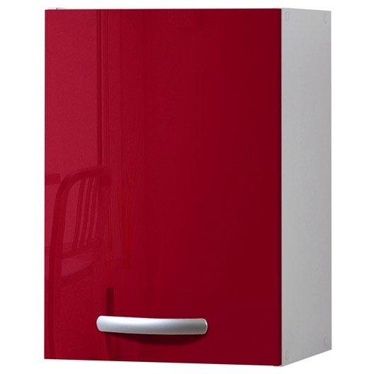 Meuble de cuisine haut 1 porte rouge brillant h57x l40x for Meuble porte rouge
