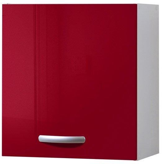 Meuble De Cuisine Haut 1 Porte Rouge Brillant H57x L60x