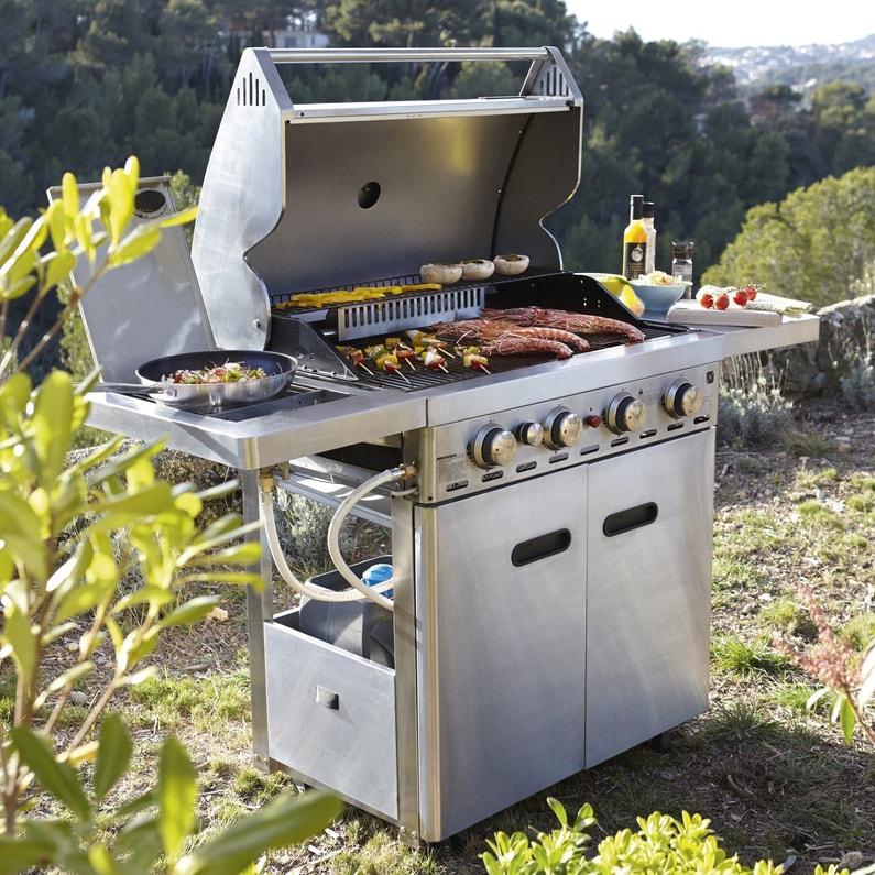 Barbecue Au Gaz Naterial Florida 4 Brûleurs Inox Gris