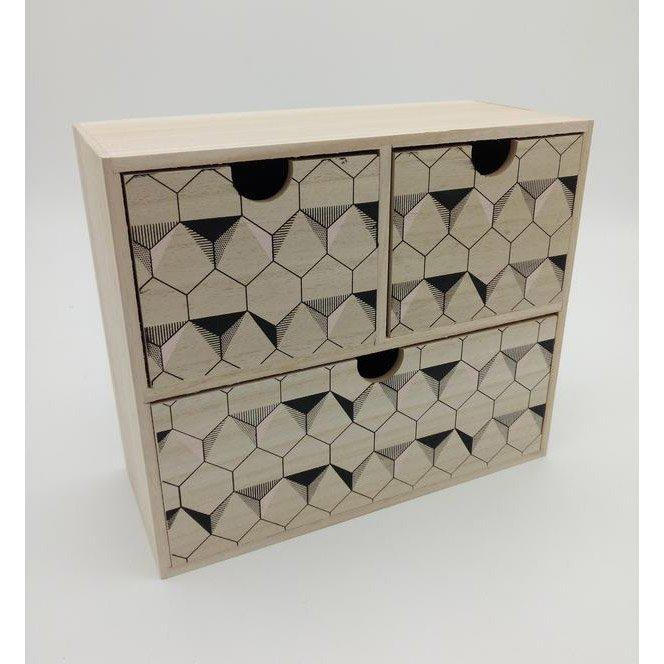 Bloc 3 Tiroirs Origami Moon Bois L27 X P115 X H23 Cm