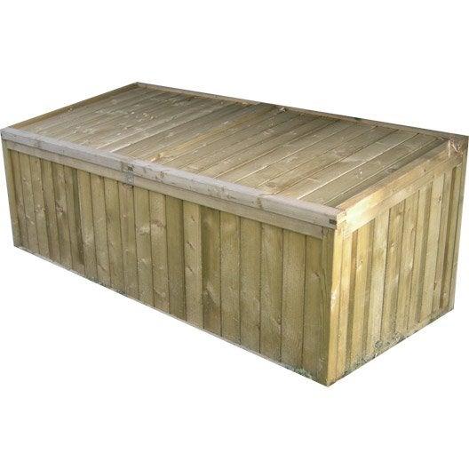 Coffre de jardin bois naturelle x x cm for Castorama coffre de jardin