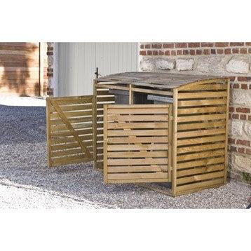 cache poubelle simple en bois double m3. Black Bedroom Furniture Sets. Home Design Ideas