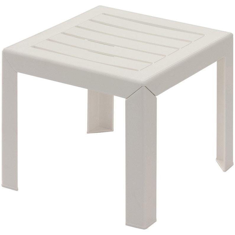 Table de jardin basse GROSFILLEX Miami carrée blanc 2 personnes ...