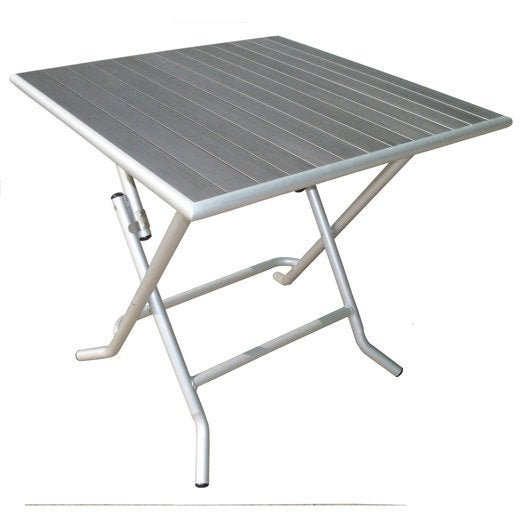 Table de jardin naterial boston carr e gris 4 personnes leroy merlin - Leroy merlin table jardin ...