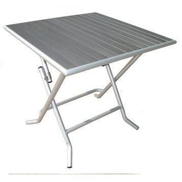 Table de jardin aluminium bois r sine leroy merlin - Table de jardin carree 8 personnes ...