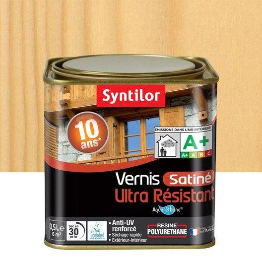 Vernis syntilor aqua 0 5 l incolore leroy merlin for Vernis bois exterieur