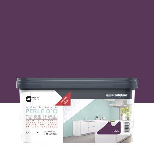Peinture perle d 39 o maison deco violet raisin 2 5 l leroy merlin for Peinture violet aubergine