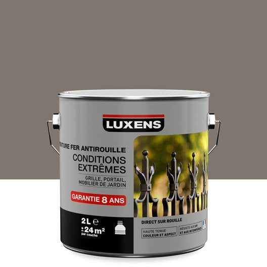 Peinture fer ext rieur antirouille luxens brun taupe n 3 2 l leroy merlin for Peinture brun taupe