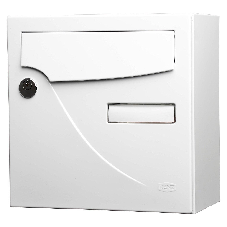 bo te aux lettres compacte 1 porte renz essentiel acier blanc leroy merlin. Black Bedroom Furniture Sets. Home Design Ideas