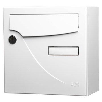Boîte aux lettres compacte 1 porte RENZ Essentiel, acier blanc