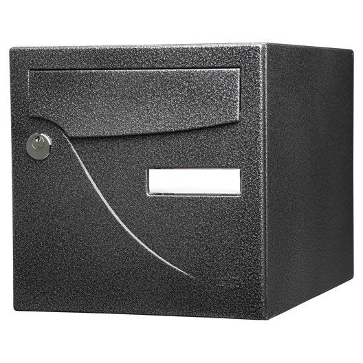 bo te aux lettres normalis e la poste 2 portes renz essentiel en acier noir leroy merlin. Black Bedroom Furniture Sets. Home Design Ideas