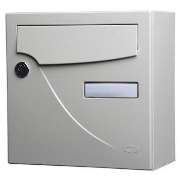 Boîte aux lettres compacte 1 porte RENZ Essentiel, acier ivoire