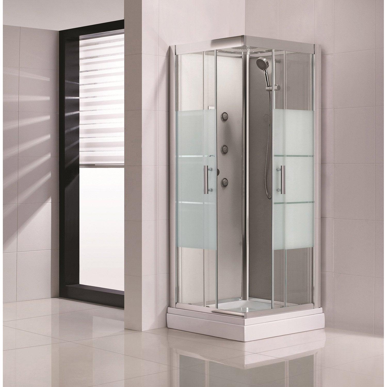 Cabine de douche carré 80x80 cm, Optima2 grise | Leroy Merlin