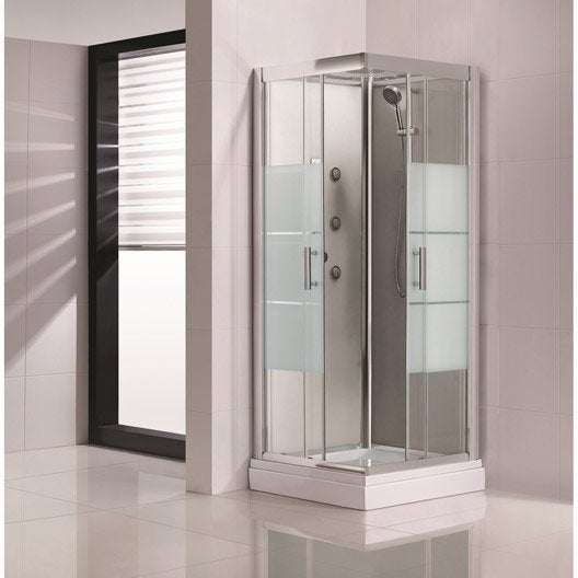 cabine de douche carr 90x90 cm optima2 grise leroy merlin. Black Bedroom Furniture Sets. Home Design Ideas