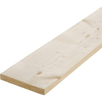 Planche sapin petits noeuds brut, 25 x 200 mm, L.2.4 m