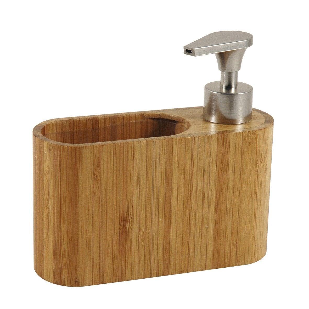 Bamboo soap dispenser with sponge holder